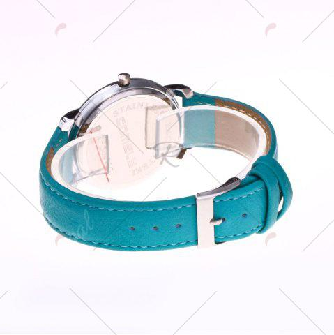 Sale Faux Leather Band Round Analog Watch - GREEN  Mobile