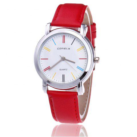 Chic Faux Leather Band Round Analog Watch - RED  Mobile
