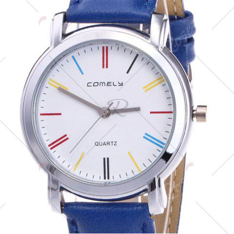 Shop Faux Leather Band Round Analog Watch - BLUE  Mobile