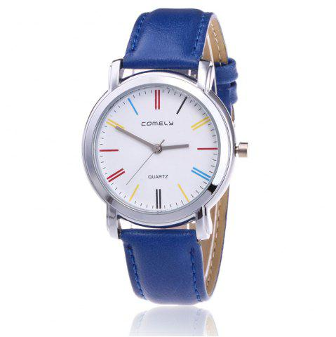 Store Faux Leather Band Round Analog Watch - BLUE  Mobile