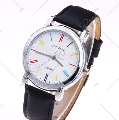 Shops Faux Leather Band Round Analog Watch - BLACK  Mobile