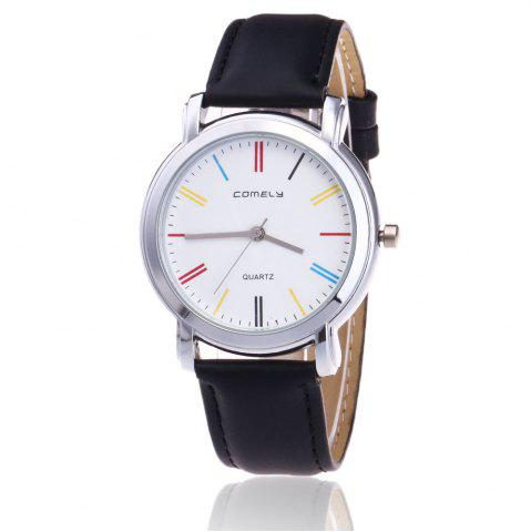 Fashion Faux Leather Band Round Analog Watch - BLACK  Mobile