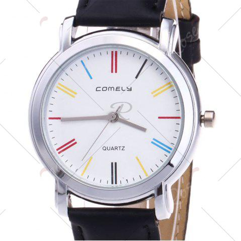Affordable Faux Leather Band Round Analog Watch - BLACK  Mobile