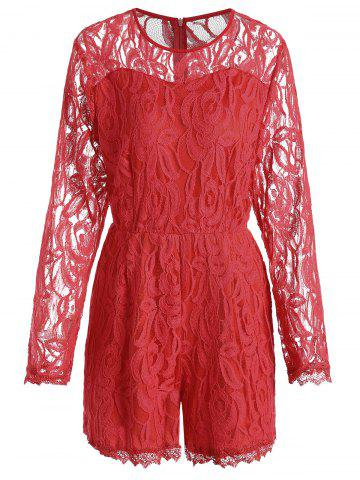 Affordable Plus Size Lace Panel See Thru Romper RED XL