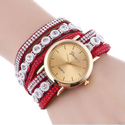 Trendy Layered Rhinestoned Wrap Bracelet Watch - RED  Mobile