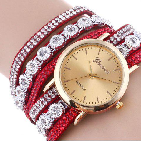 Unique Layered Rhinestoned Wrap Bracelet Watch - RED  Mobile