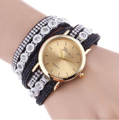Buy Layered Rhinestoned Wrap Bracelet Watch BLACK