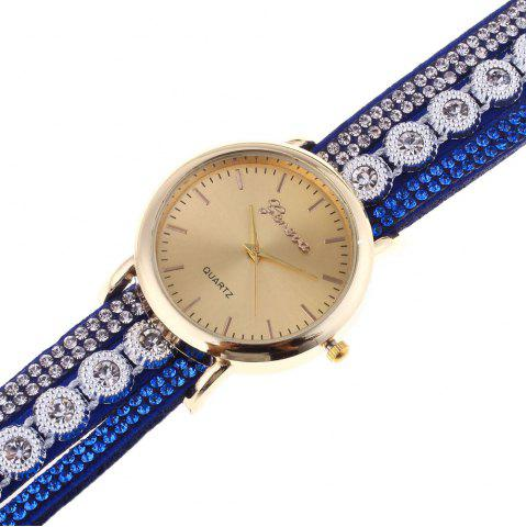 Cheap Layered Rhinestoned Wrap Bracelet Watch - BROWN  Mobile