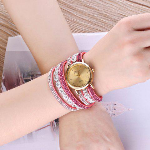 Shop Layered Rhinestoned Wrap Bracelet Watch - PINK  Mobile