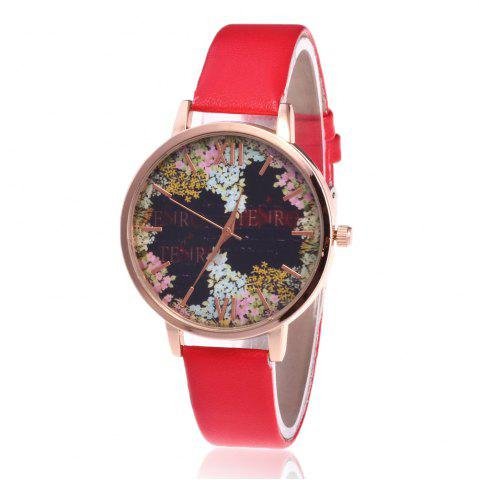 Hot Floral Letter Face Faux Leather Strap Watch RED