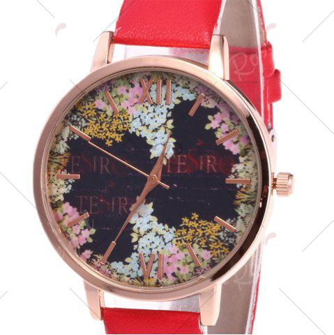 Latest Floral Letter Face Faux Leather Strap Watch - RED  Mobile