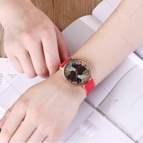 Chic Floral Letter Face Faux Leather Strap Watch - RED  Mobile