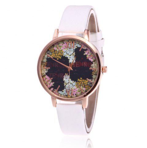 Latest Floral Letter Face Faux Leather Strap Watch - WHITE  Mobile