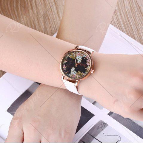 Affordable Floral Letter Face Faux Leather Strap Watch - WHITE  Mobile