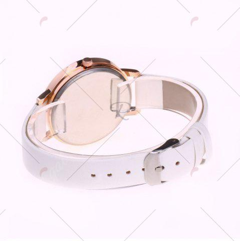 New Floral Letter Face Faux Leather Strap Watch - WHITE  Mobile