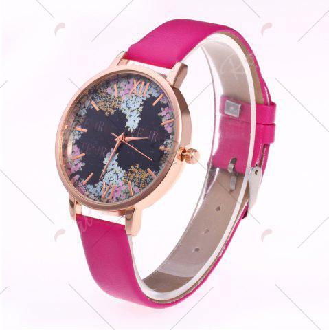 Trendy Floral Letter Face Faux Leather Strap Watch - TUTTI FRUTTI  Mobile