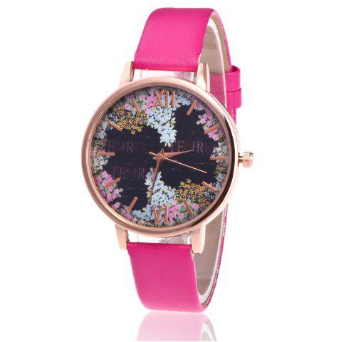 New Floral Letter Face Faux Leather Strap Watch