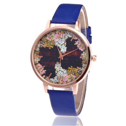 Buy Floral Letter Face Faux Leather Strap Watch - BLUE  Mobile