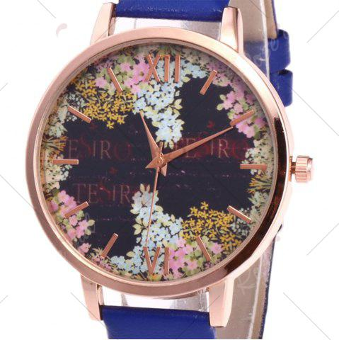 Outfit Floral Letter Face Faux Leather Strap Watch - BLUE  Mobile