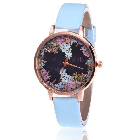 Montre à bracelet en cuir floral Faux Leather Letter Watch Azur
