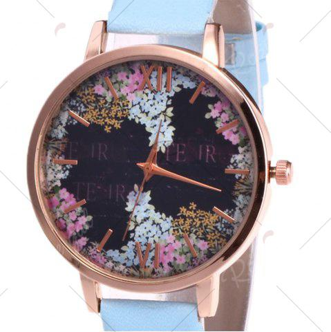 Affordable Floral Letter Face Faux Leather Strap Watch - AZURE  Mobile