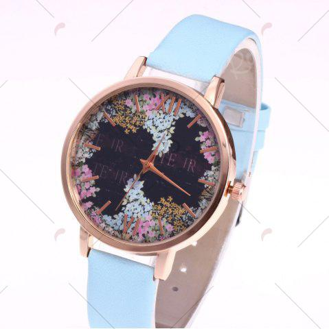 Discount Floral Letter Face Faux Leather Strap Watch - AZURE  Mobile