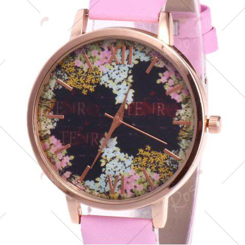 New Floral Letter Face Faux Leather Strap Watch - PINK  Mobile