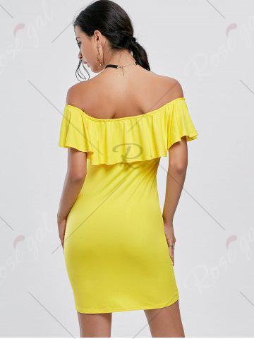 Affordable Off The Shoulder Mini Bodycon Dress - S YELLOW Mobile