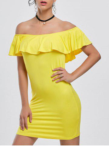 Hot Off The Shoulder Mini Tight Bodycon Dress YELLOW 2XL