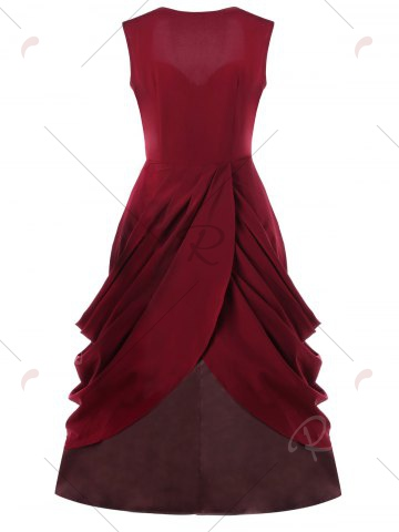 Affordable Ruched Vintage Sweetheart Party A Line Dress - M RED Mobile