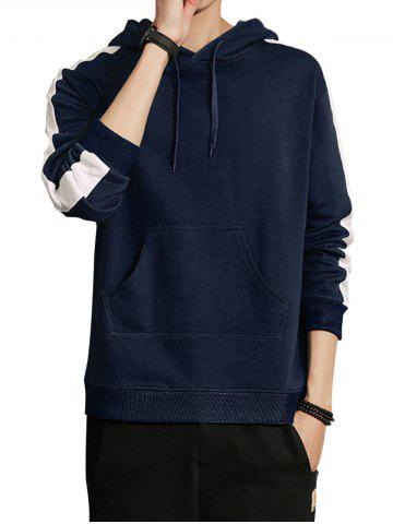 Single Stripe Print Pullover Hoodie - Blue - M