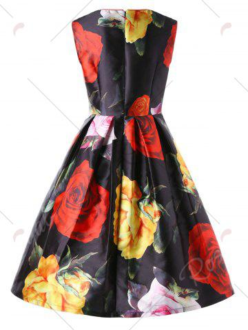 Affordable Allover Floral Sleeveless Lace Up Swing Dress - M BLACK Mobile