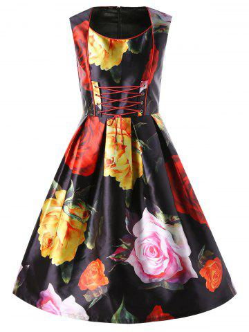 Allover Floral Sleeveless Lace Up Swing Dress - Black - 2xl