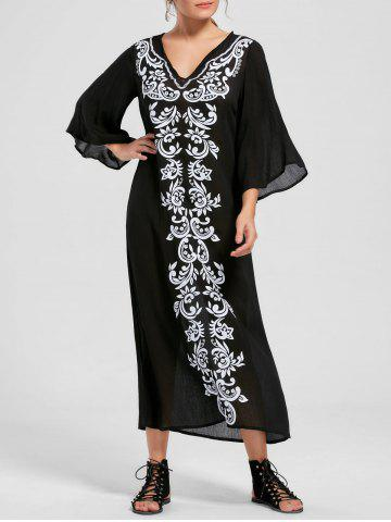 Fashion Bandana Floral Flare Sleeve Longline Dress BLACK L