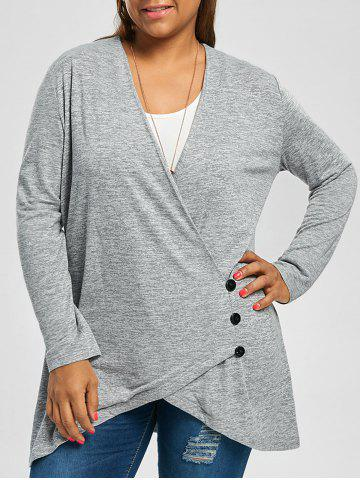 Plus Size Button Fly Heather Longline Top - Light Gray - 3xl