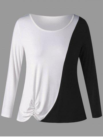 New Plus Size Two Tone Shirred Long Sleeve T-shirt