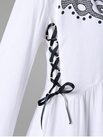 Online Printed High Low Lace Up Blouse - M WHITE Mobile