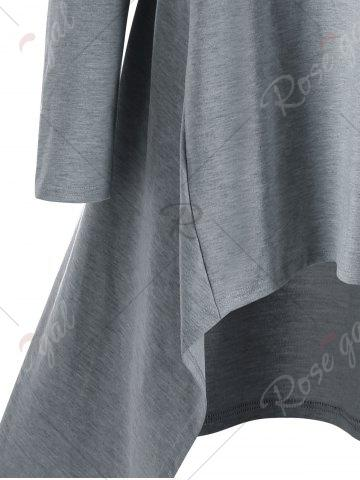 Online Asymmetrical Tunic Hoodie - M GRAY Mobile