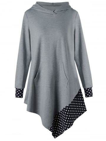 Discount Polka Dot Asymmetrical Tunic Hoodie GRAY M