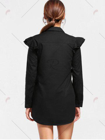Chic Paisley Embroidery Long Sleeve Tunic Shirt - S BLACK Mobile