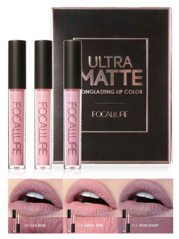 Fashion 3Pcs Metallic Color Waterproof Moisturize Lip Glaze Set #02