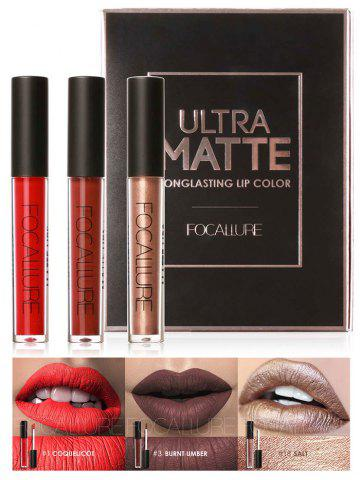 3Pcs Metallic Color Waterproof Hydratant Lip Glaze Set 03#
