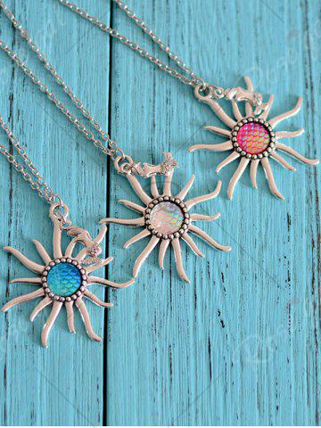 Outfits Mermaid Scales Sun Pendant Necklace - LIGHT PINK  Mobile