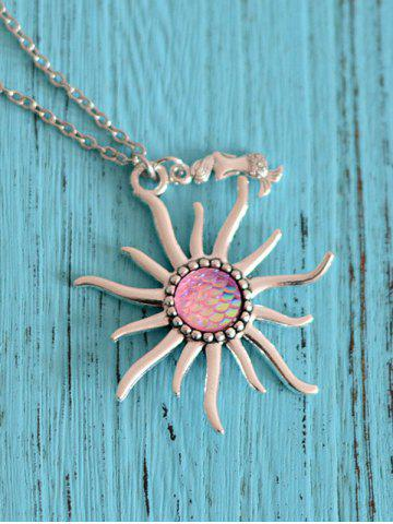 Hot Mermaid Scales Sun Pendant Necklace - LIGHT PINK  Mobile