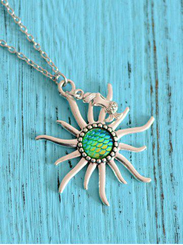 Fashion Mermaid Scales Sun Pendant Necklace - GREEN  Mobile