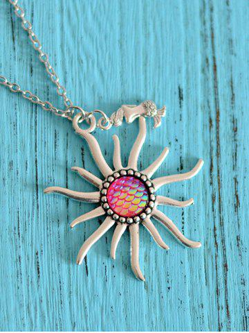 Mermaid Scales Sun Pendant Necklace rose