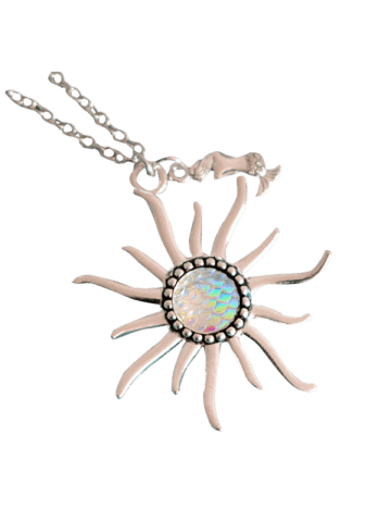 New Mermaid Scales Sun Pendant Necklace - WHITE  Mobile
