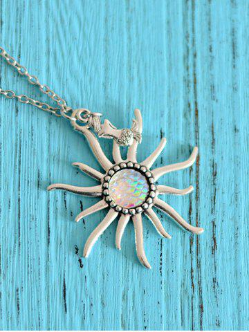 Mermaid Scales Sun Pendant Necklace Blanc