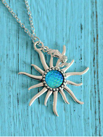 New Mermaid Scales Sun Pendant Necklace - BLUE  Mobile