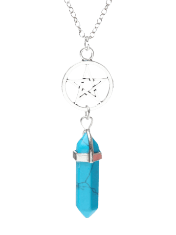 Hot Natural Stone Star Circle Pendant Necklace BLUE